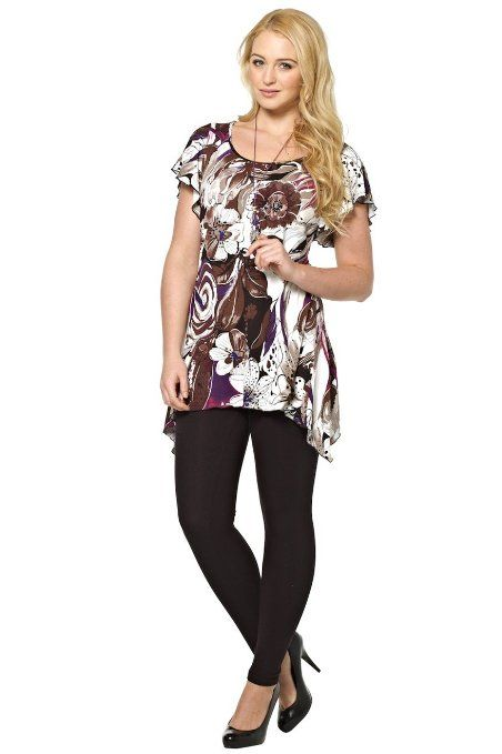 a199fb2c1cb Roman Originals - Womens Tops Long Tunic Top Floral Print FREE Necklace -  Blouses Shirts Tunics T-shirts - Going Out Party Smart Everyday Casual Work  - Long ...