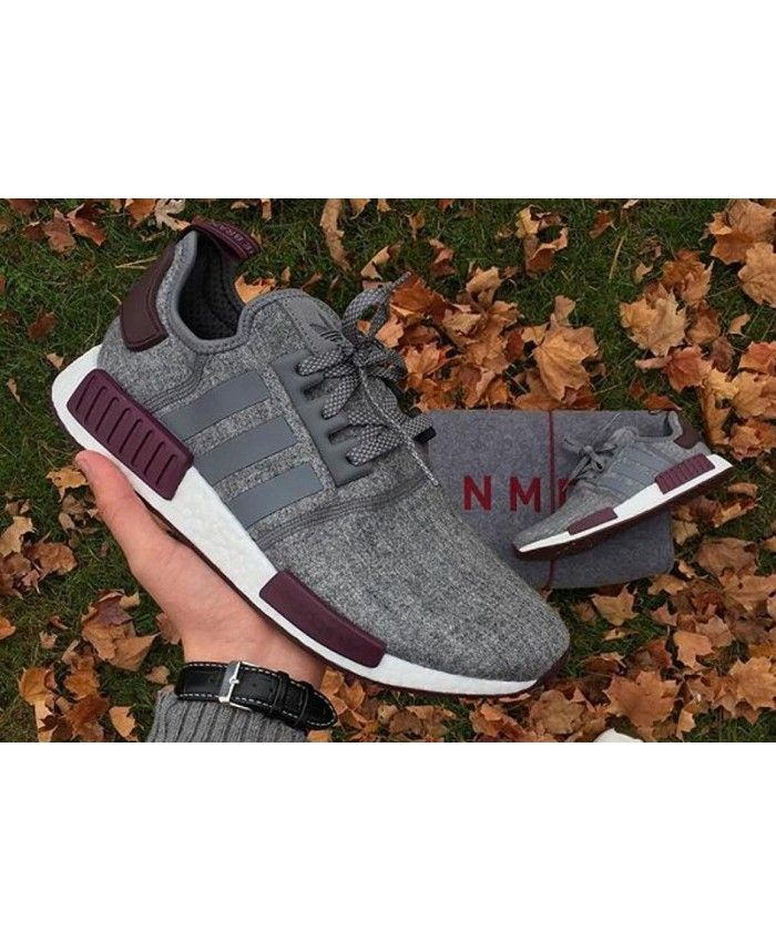 fb507aa3fc1 Cheap Adidas NMD R1 Grey Wool Maroon Pack Dark Purple Trainers ...