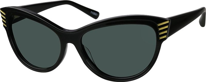 f82ee2f968 Zenni Womens Cat-Eye Rx Sunglasses Black Plastic 113021