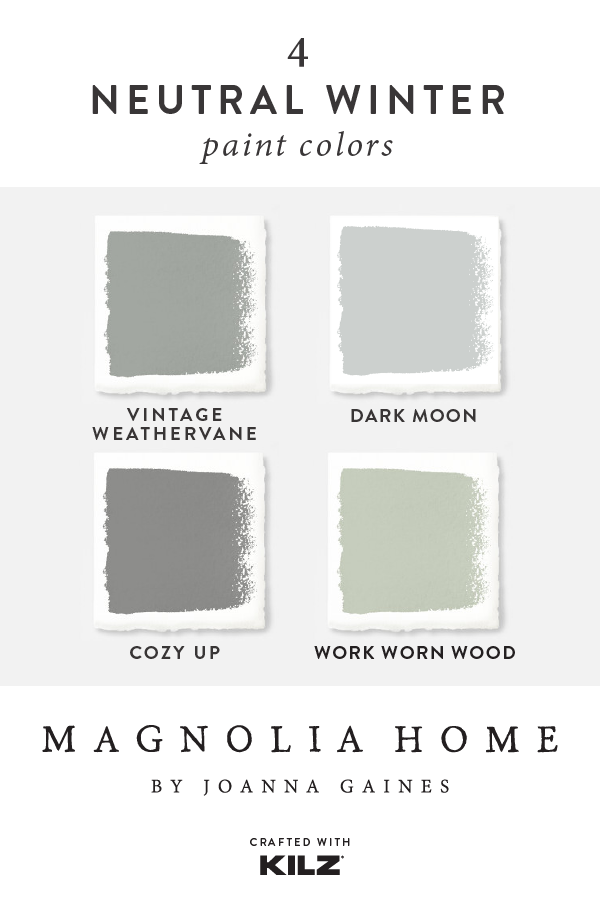 Let's cool things down with this neutral winter paint color palette from the Magnolia Home by Joanna Gaines® paint collection. These timeless neutral hues add a soft, wintery style to the interior design of your home. Click below to get inspired. #magnoliahomesjoannagaines Let's cool things down with this neutral winter paint color palette from the Magnolia Home by Joanna Gaines® paint collection. These timeless neutral hues add a soft, wintery style to the interior design of your home. Cl