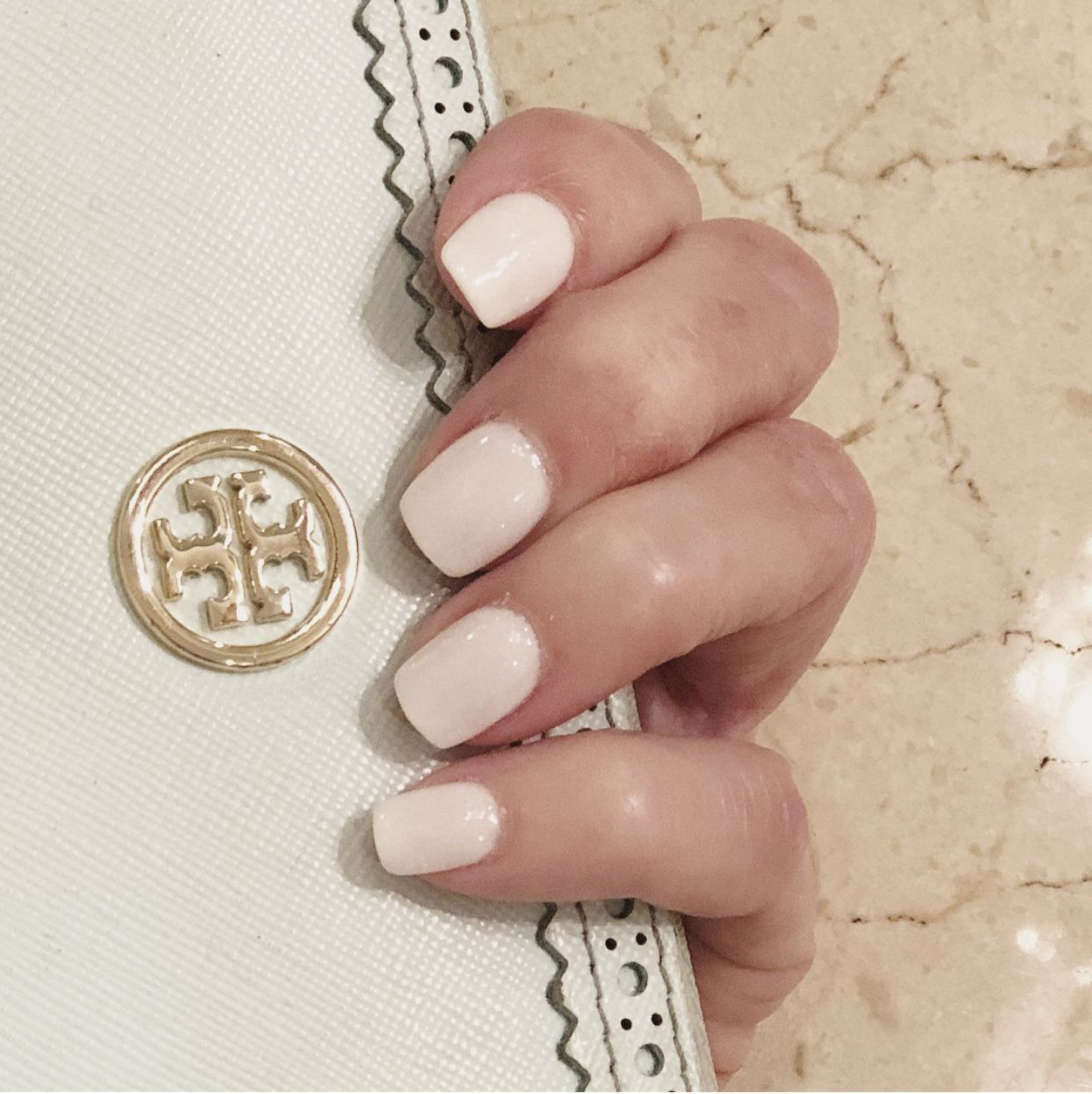 Nexgen powder dip nails in S37 Nebraska, a soft white with barely ...