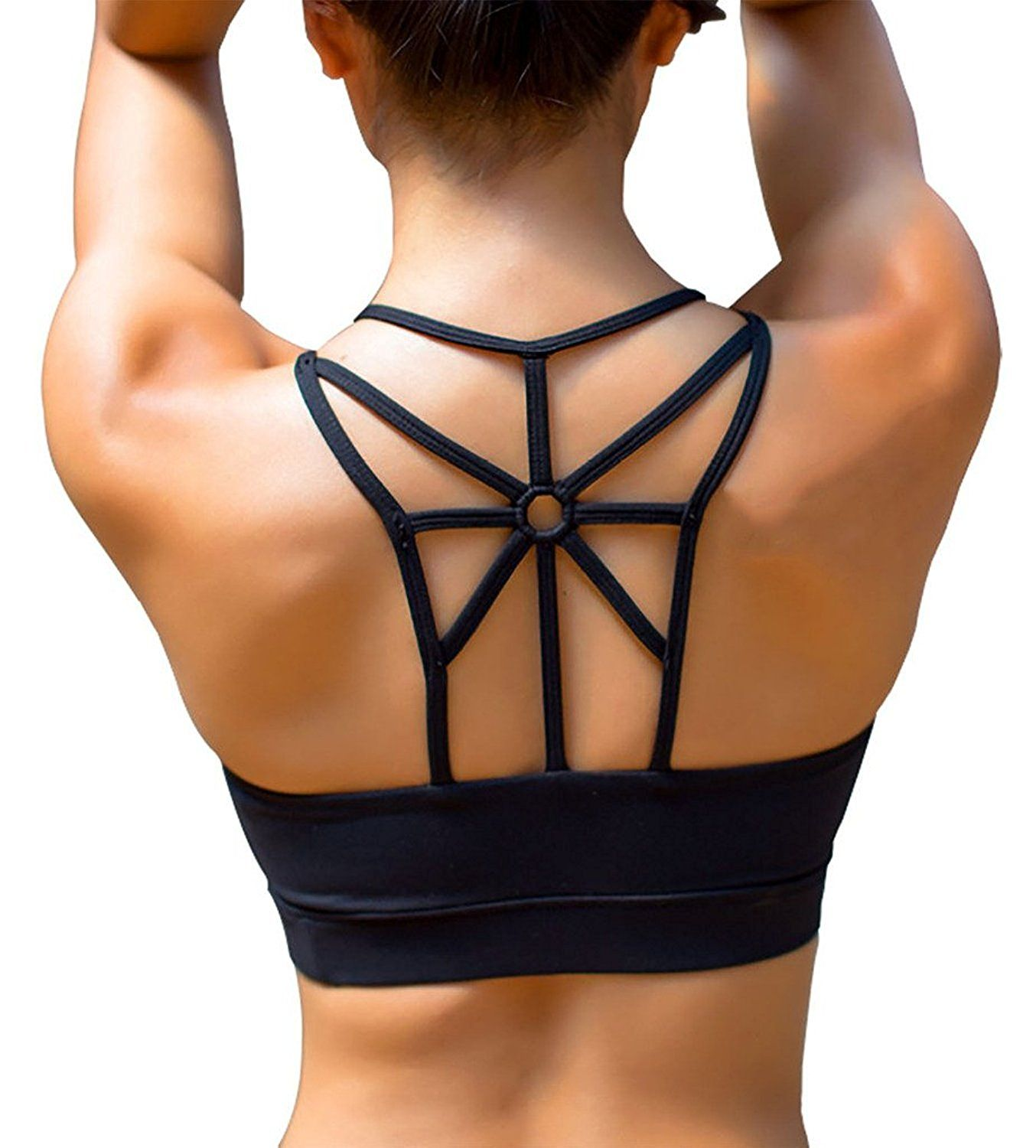 8383cca72a YIANNA Women s Padded Sports Bra Cross Back High Impact Strappy Yoga Bra   Amazon.ca