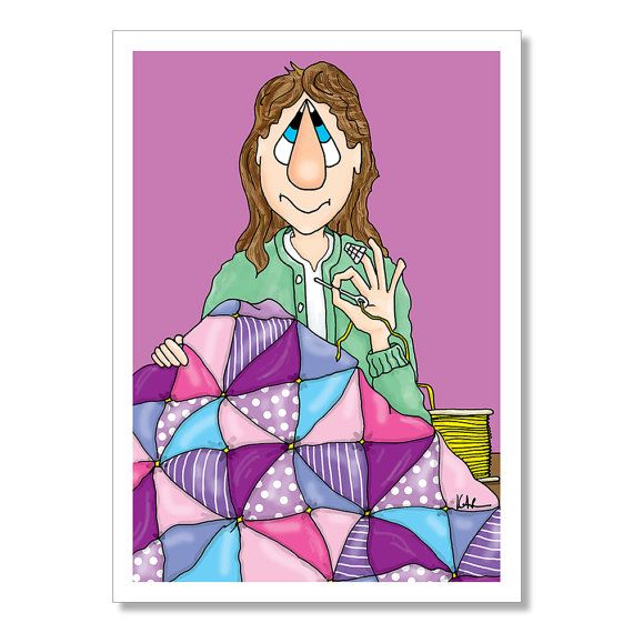 Quilting Birthday Card Funny Woman By YoYoGreetings