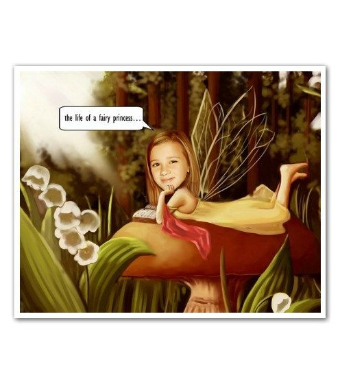 Customizable 8x10 Fairy Caricature in a White Wood Frame Made From Recycled Wood. Great Decor For Your Little Fairies' Bedroom. :)