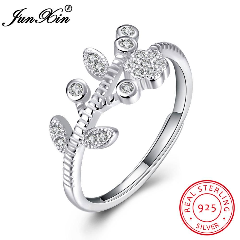 b780f0f0db4327 JUNXIN Korean Style Flower Shape Women 100% 925 Sterling Silver Open Rings  Unique Wedding Engagement Party Ring Birthday Gift