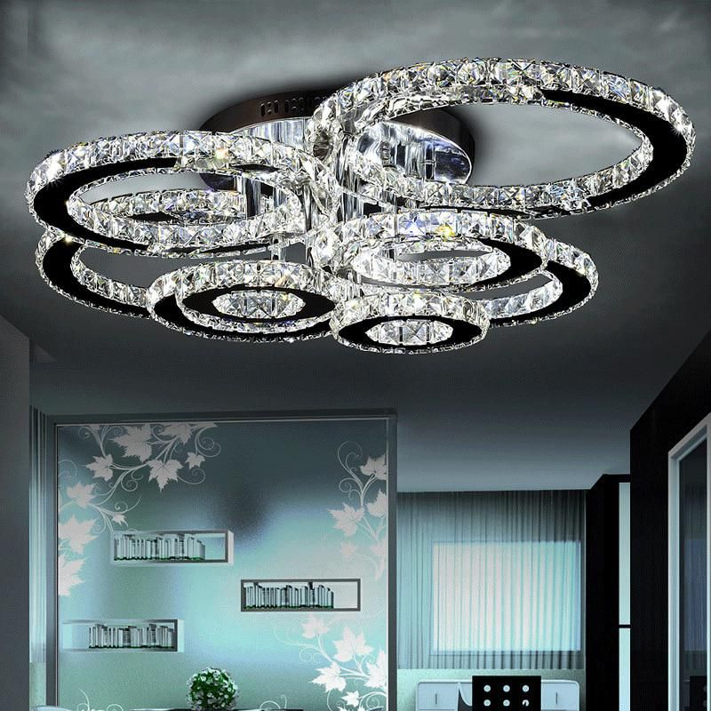 Good Quality Clear Ring Led Ceiling Lamp Crystals Flush Mounted Living Room Lights Lampara Led Techo For Home Fast Shipping Crystal Ceiling Light Crystal Chandelier Lighting Modern Ceiling Light