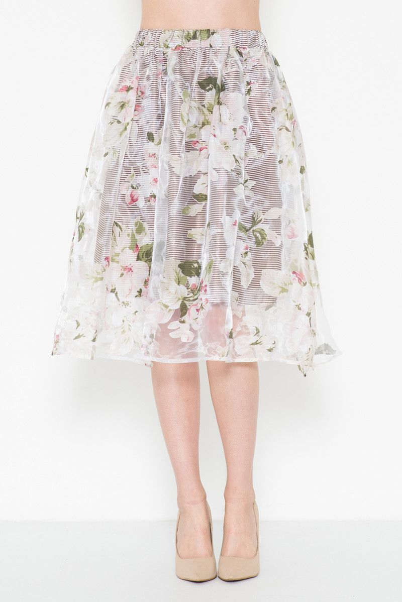 Floral Print Organza Midi Skirt Easter Sunday Pinterest Petal Olive