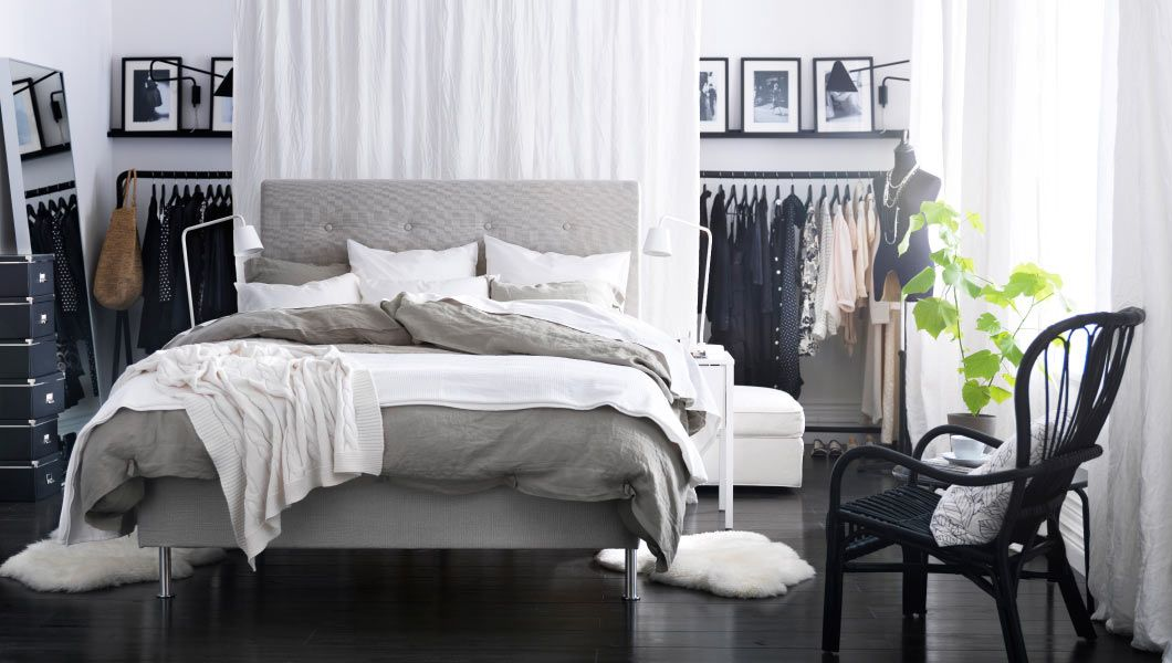 Bedroom,Stylish IKEA Bedroom Design Ideas For Women With White Wall And  Black Floor Featuring White Drop Cloth Curtains And Black Iron Hanging  Clothes ...