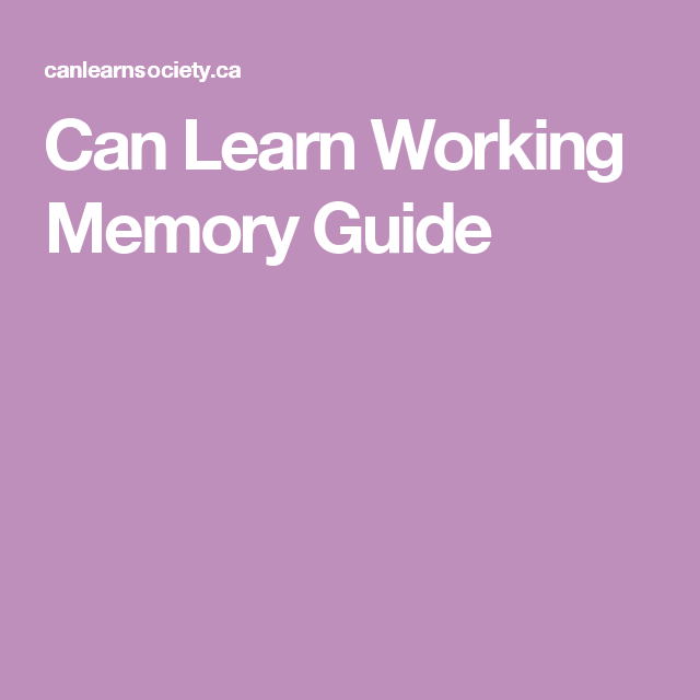 Can Learn Working Memory Guide