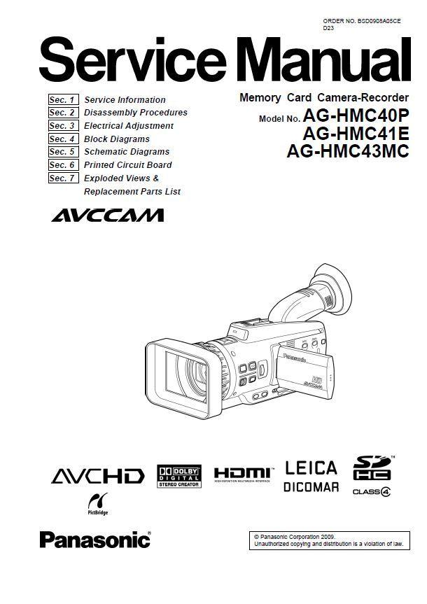 Panasonic AG-HMC40 HMC41 HMC43 AVCHD Camcorder Service