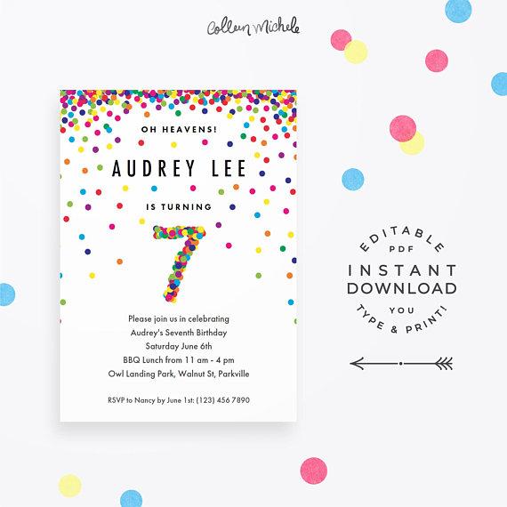 Rainbow 7th Birthday Party Invitation Instant Download Printable PDF Cute Confetti Invita