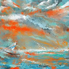 78df20ff96d Orange And Teal Paintings - Turquoise Sail - Orange and Turquoise Abstract  Art by Lourry Legarde