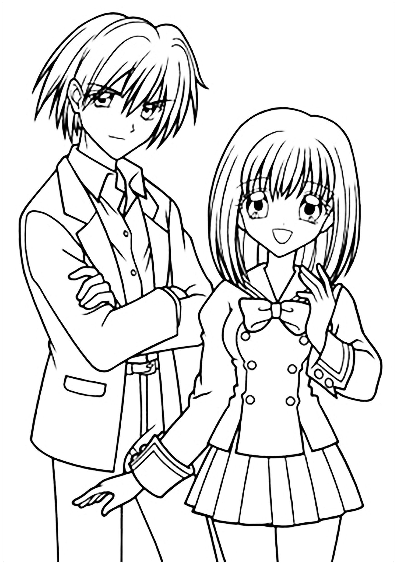 Manga drawing boy and girl in school suit Manga Anime