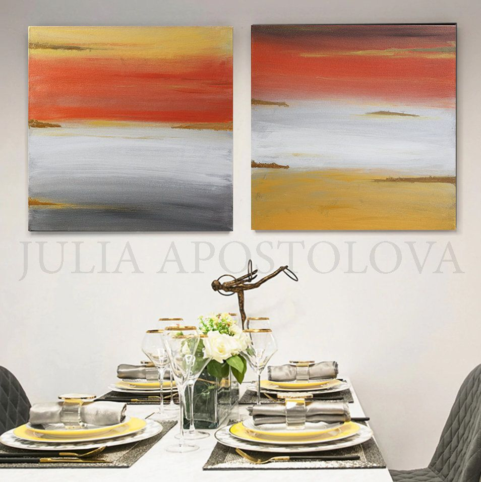 Grey Wall Art Set Of Two Gold Leaf Painting Abstract Canvas