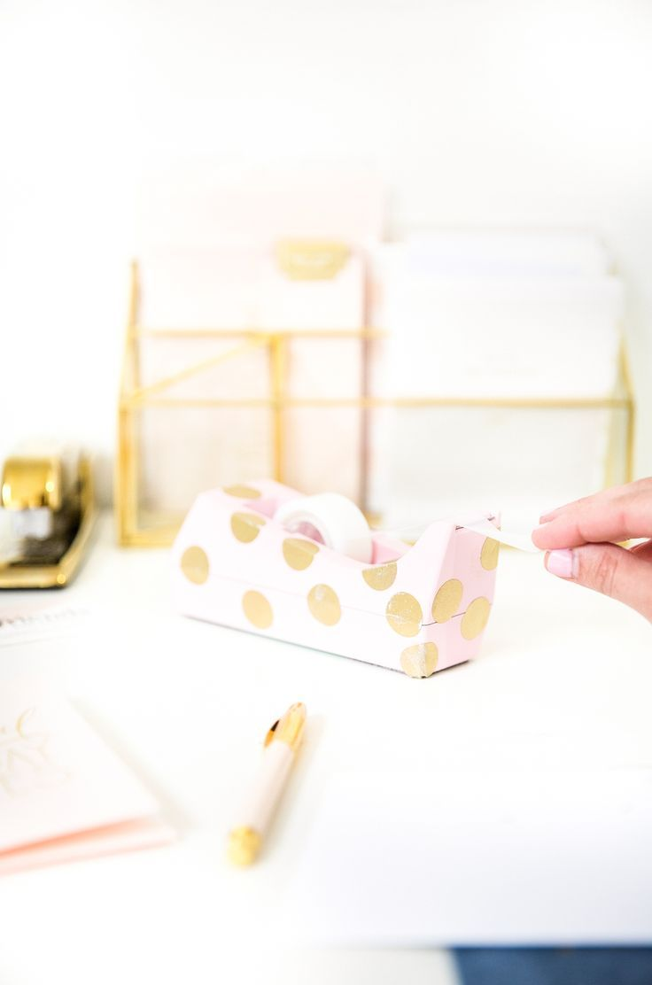 DIY Polka Dot Tape Dispenser is part of Gold Home Accessories Polka Dots - I think we can all admit that sometimes the hardest part of getting any work done is actually finding the willpower to begin  Right !  BUT it doesn't have to be like this  I find having a cute decorated workspace helps motivate me to get my work done! Anyone else