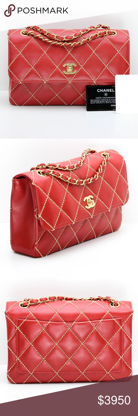 a0931361bc8f Chanel Medium Classic Quilted Flap Bag Red Chanel quilted flap bag in  smooth red leather with