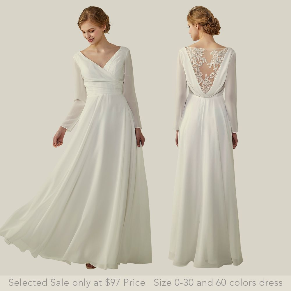 a4e4737ec27 2018 best white bridesmaid dresses illusion v back with lace long sleeves dresses  on a budget  bridesmaids v neck dresses