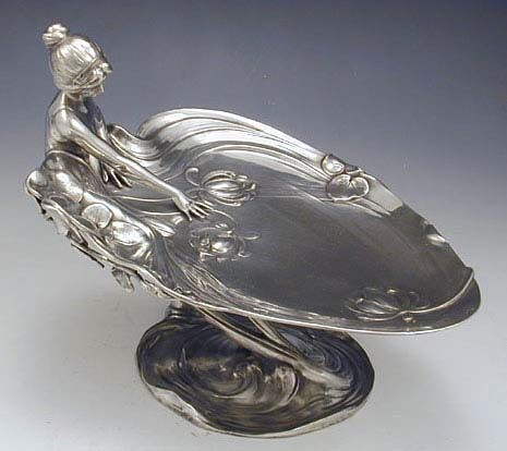 WMF Art Nouveau Polished Pewter Card Tray with Maiden