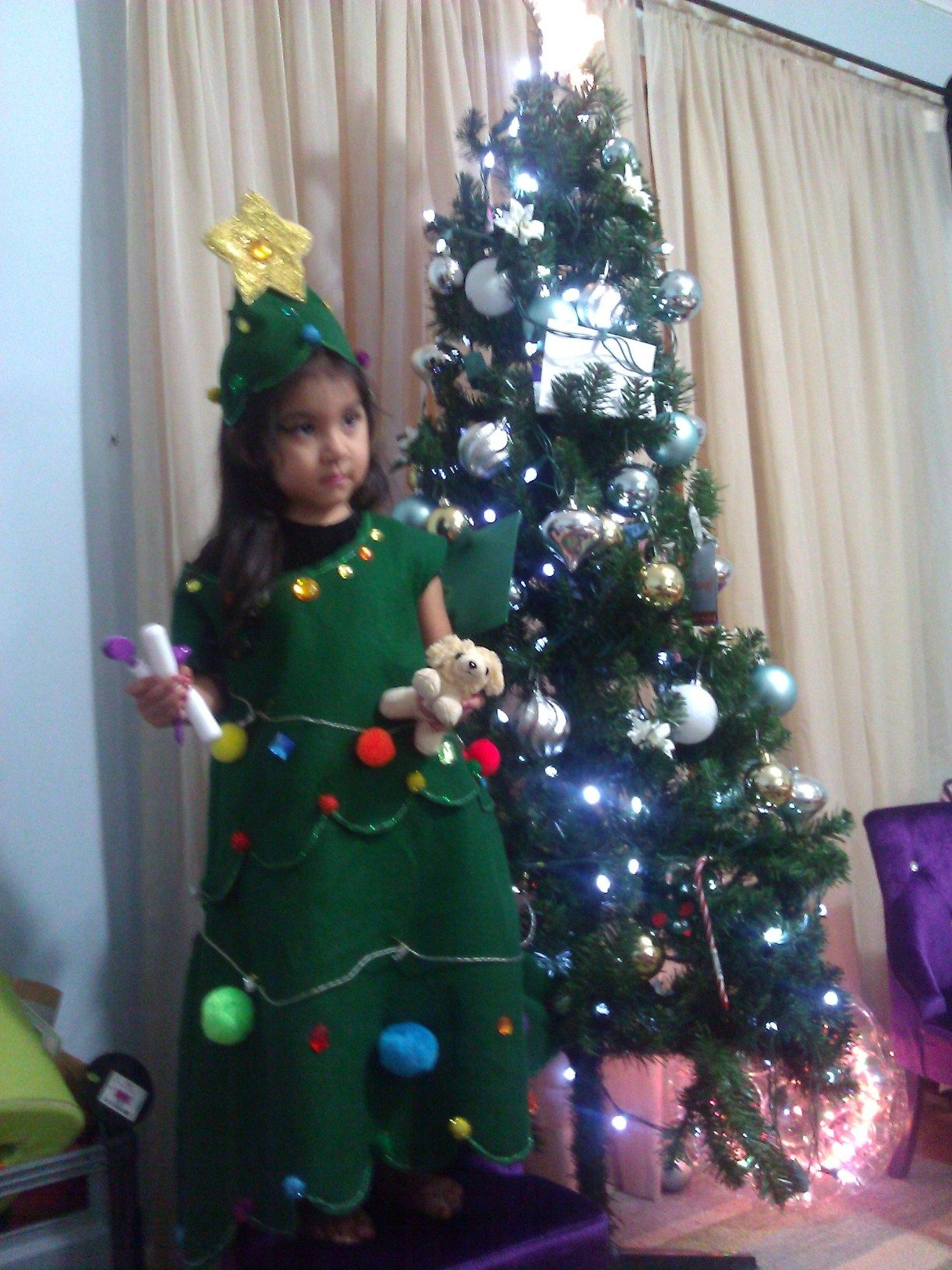 Christmas Tree Costume Made Of Felt I Decorated It With Battery Operated Led Lights Pom Pom Balls Glitter And Christmas Tree Costume Tree Costume Christmas