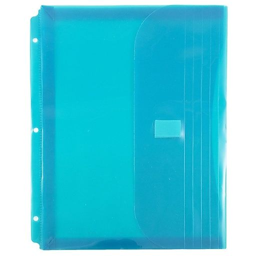 JAM Paper® Plastic 3 Hole Punch Binder Envelopes With Hook