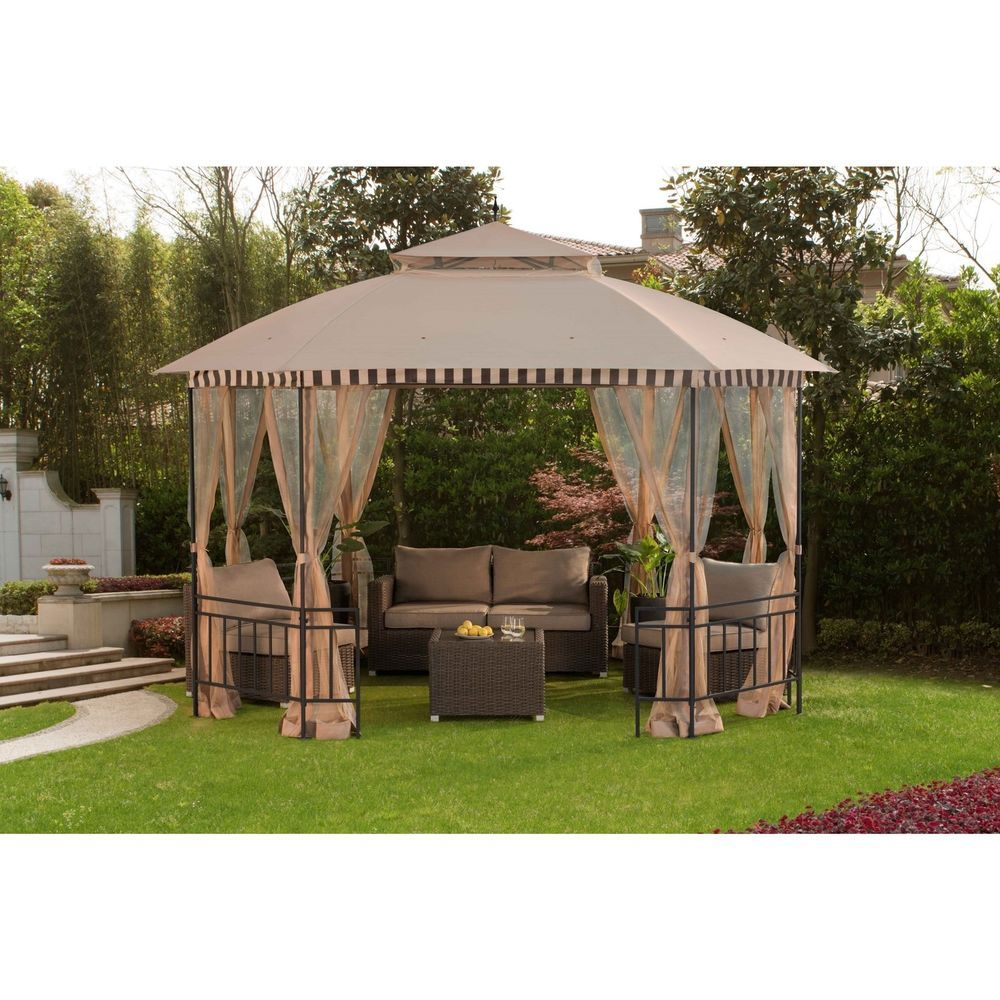 12 X 10 Metal Gazebo All Weather Outdoor Netting Set For Patio