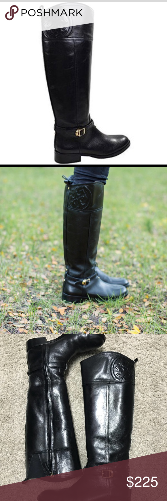 8db84aac83c Tory Burch Marlene Riding Boot Tory Burch Black Marlene Tall Leather Riding  Boots Size  7
