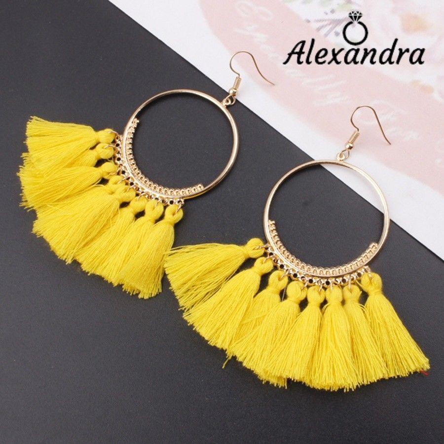 55468c62a896 Detalles de Pendientes mujer aros dorados con flecos Varios colores ...