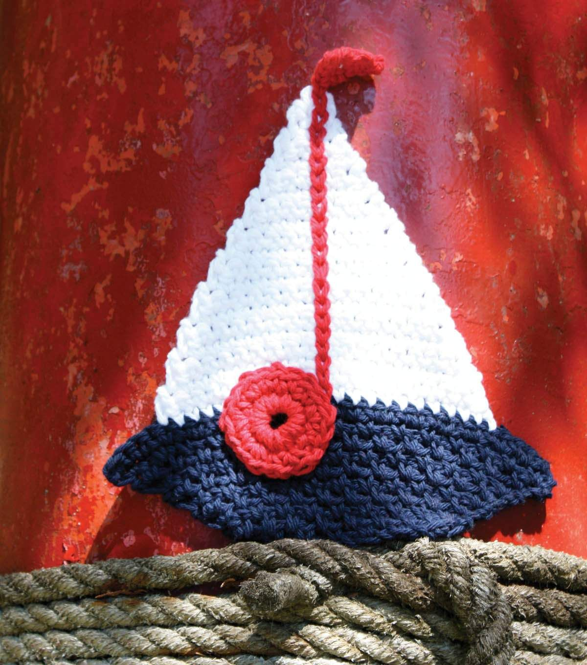 Sailboat Dishcloth (reduce, if needed, for bookmark topper)