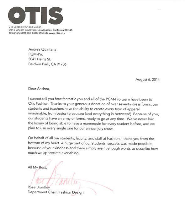 PGM Dress Form OTIS Thanks Letter PGM Educational Sponsorship - college acceptance letters