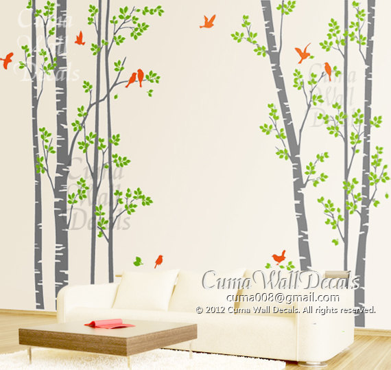 Tree Wall Decal Birds Nature Forest Vinyl Wall Decals Wall Decal Nursery Wall  Sticker Children