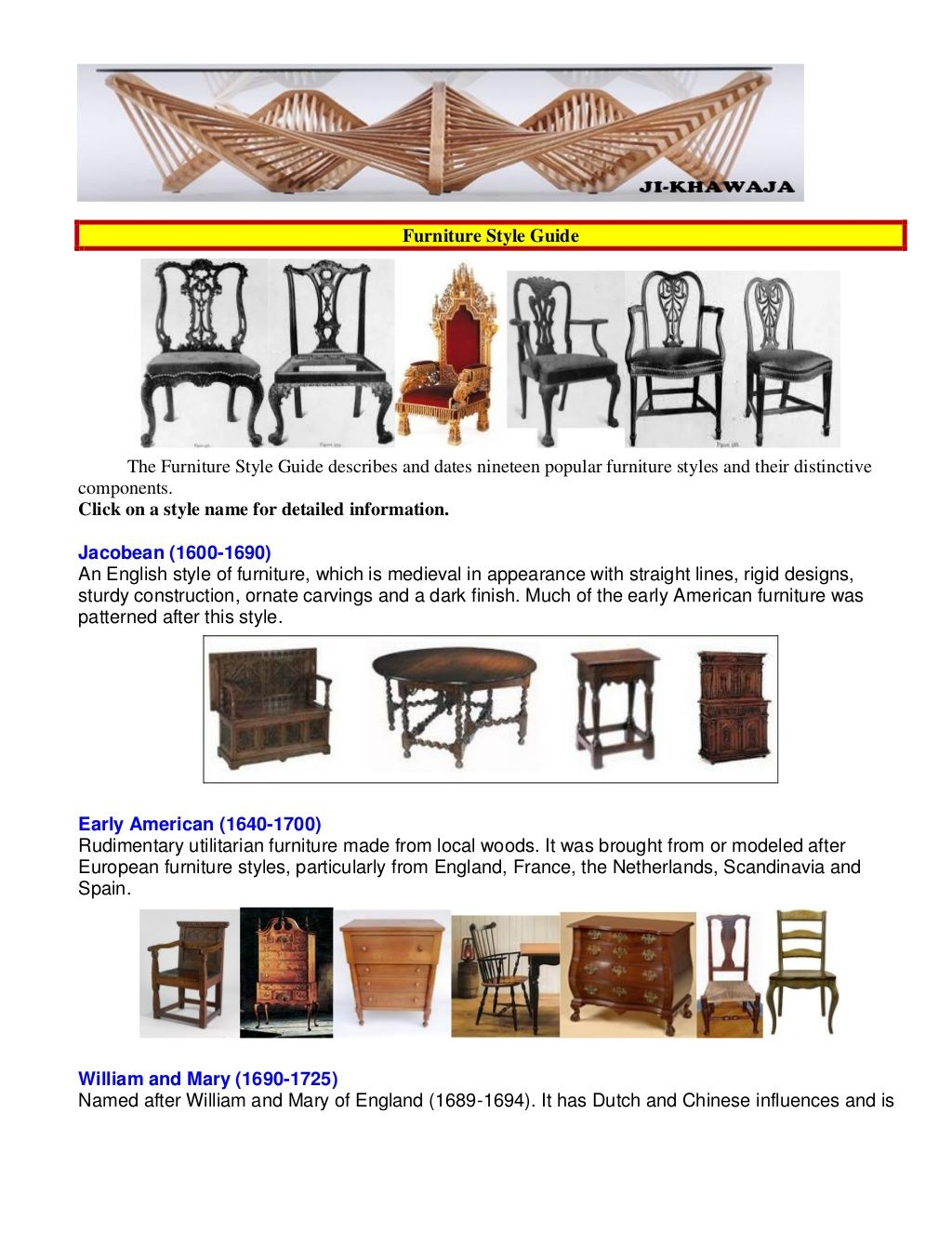 furniture style guide. Furniture Style GuideThe Guide Describes And Dates Nineteen Popular Styles Their Distinctive. E