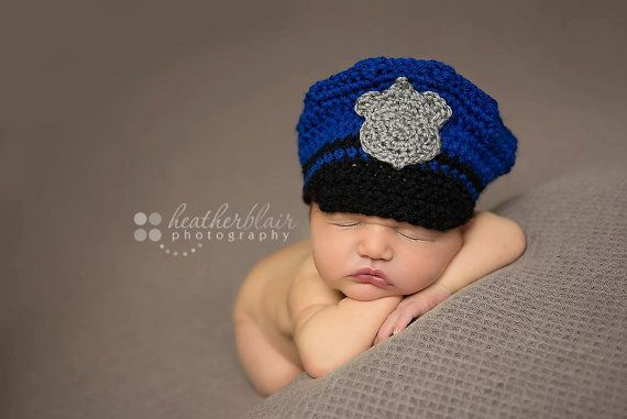 Baby boy hat, baby girl hat, police hat, photo prop, crochet police ...