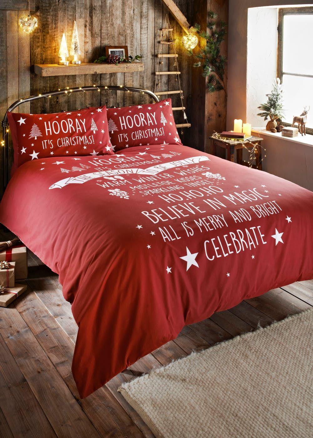 Slogan Christmas Duvet Cover – Red