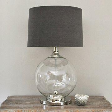 Glass Ball Table Lamp Grey Shade Primrose Plum Grey Table Lamps Table Lamps Living Room Lamps Living Room