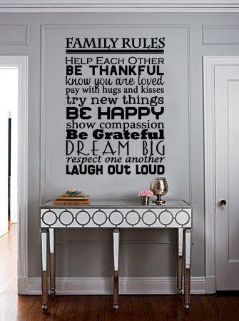 Family Rules Vinyl Wall Art by designstudiosigns on Etsy. $36.50 US ...