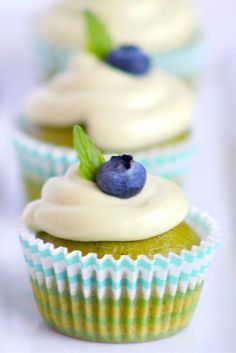 Mini Matcha Green Tea Cupcakes are the most perfect green color for spring, plus they are packed with antioxidants! @LivelyTable