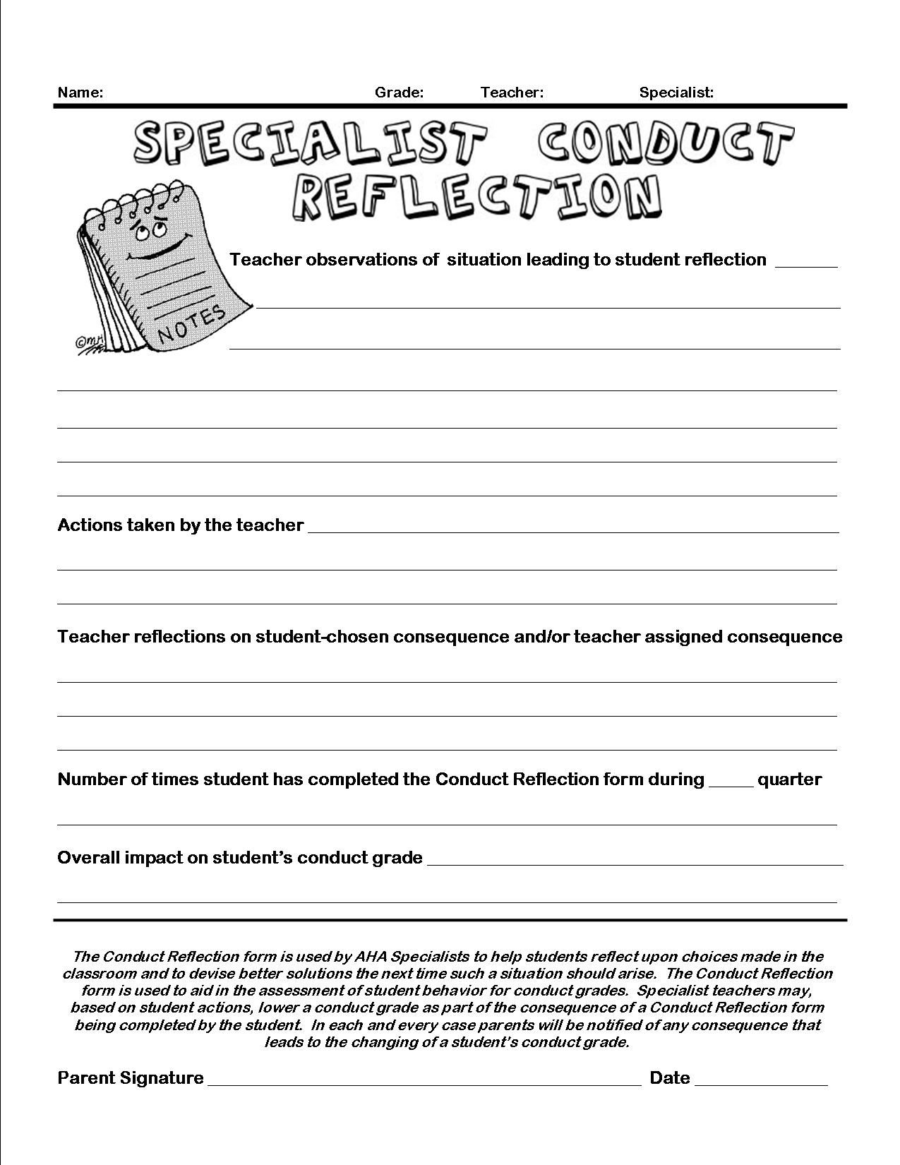 Resource Conduct Reflection Form Education templates
