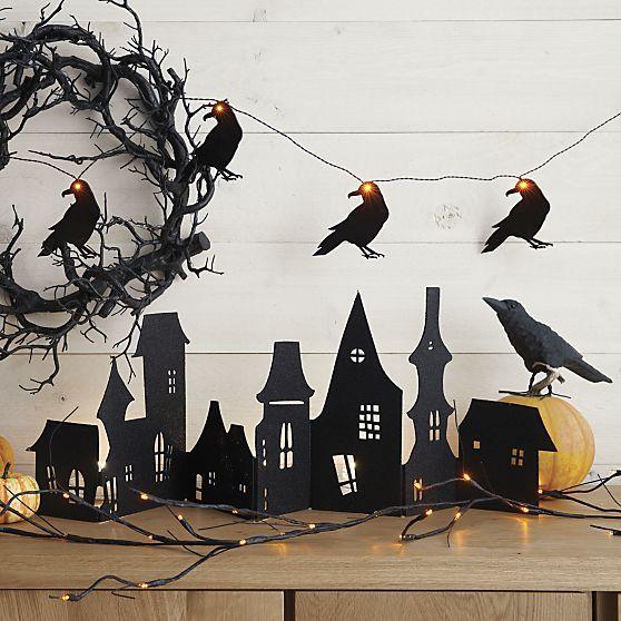 Crate  Barrel Spooky Twig 10\u0027 LED Halloween Garland Halloween