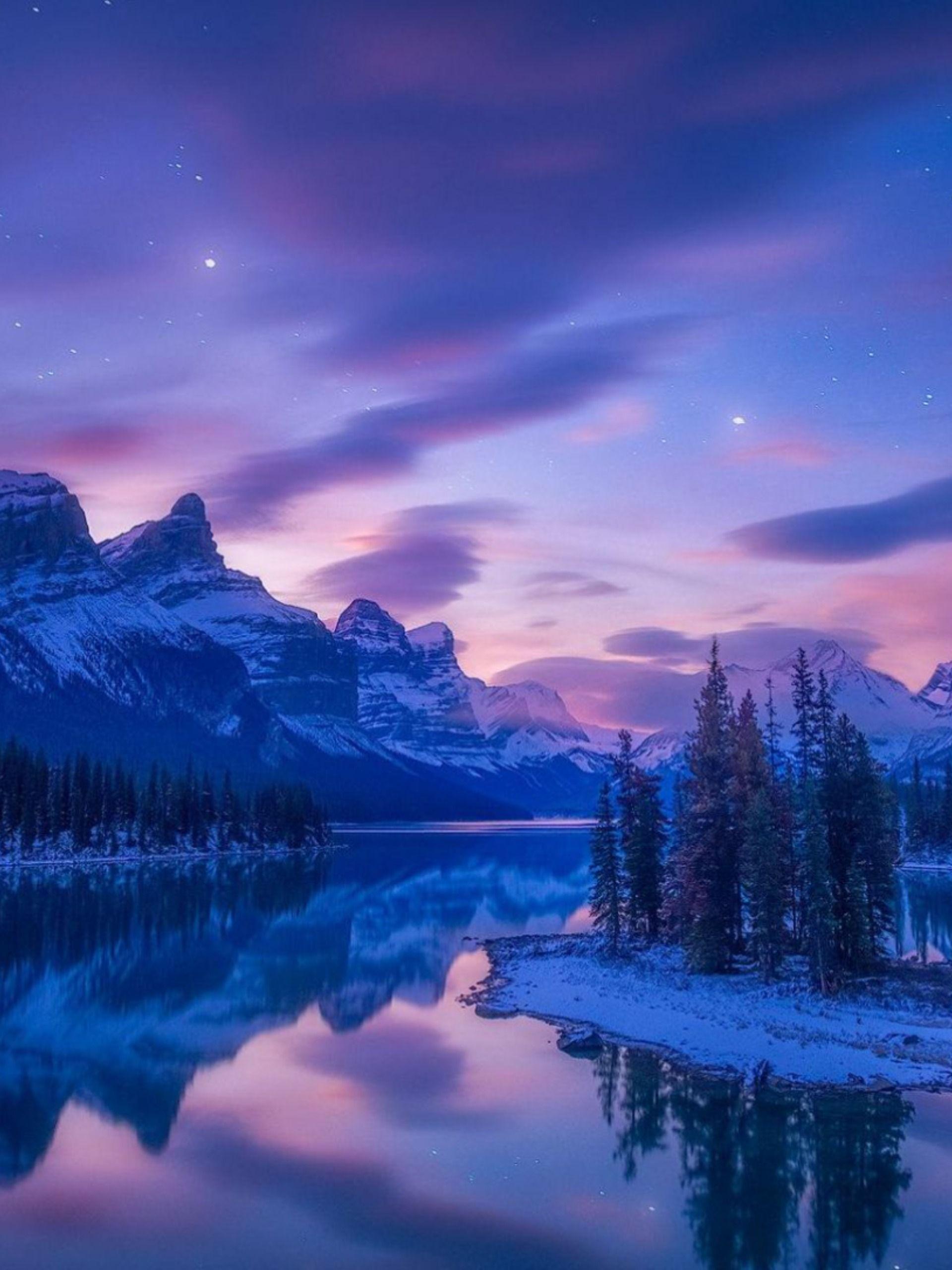 Wallpaper mountains, river, lake, winter, snow, night, HD, Nature #23277