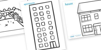 Houses and Homes Colouring Sheets - house, home, building ...