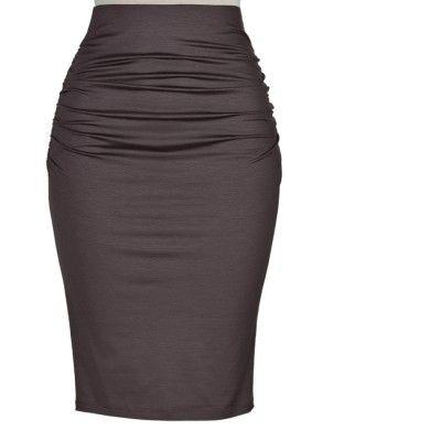 380adb08f2 Knit Cotton High-Waisted Ruched Pencil Skirt | Elizabeth's Custom Skirts