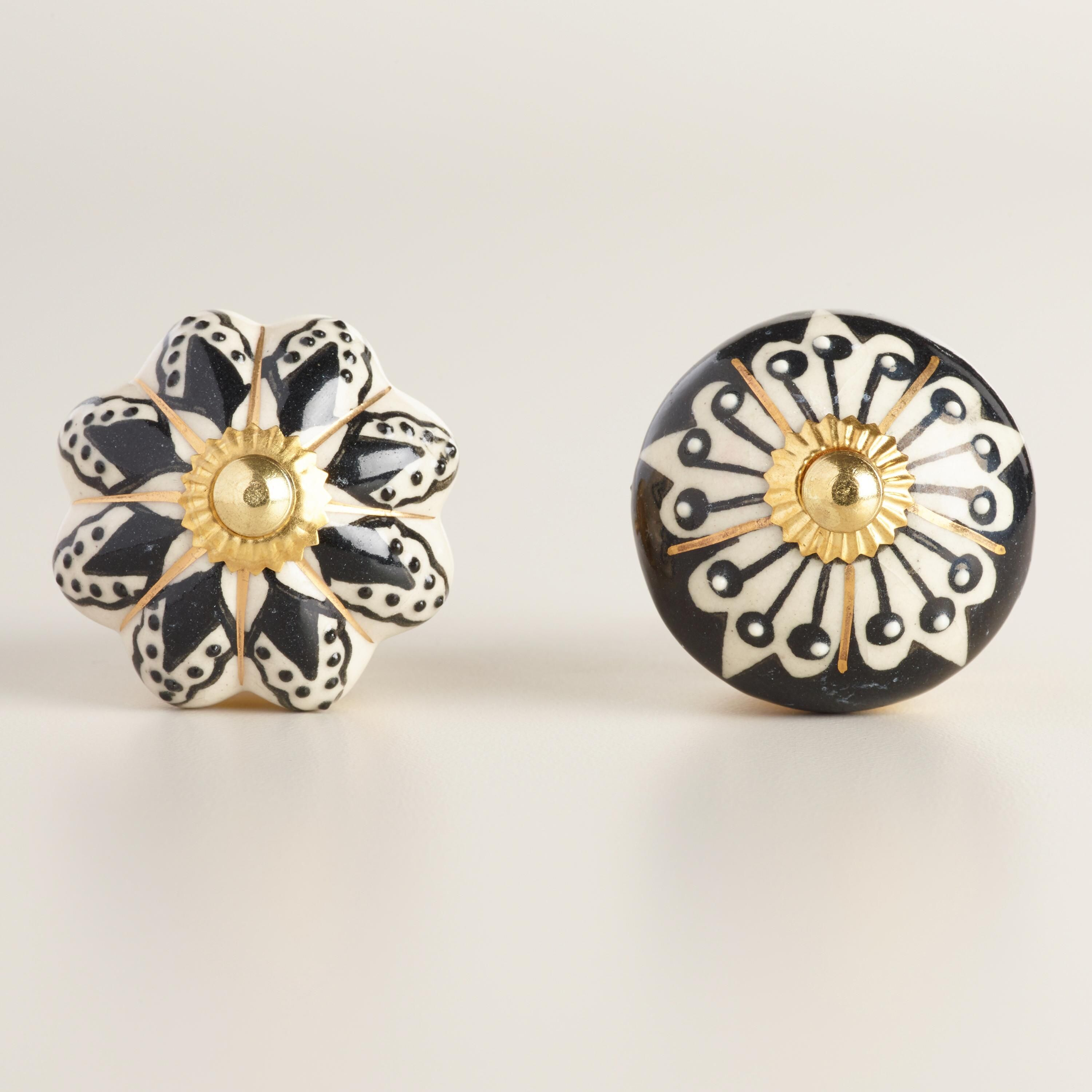 Set of two Brass and White Porcelain Drawer Pulls