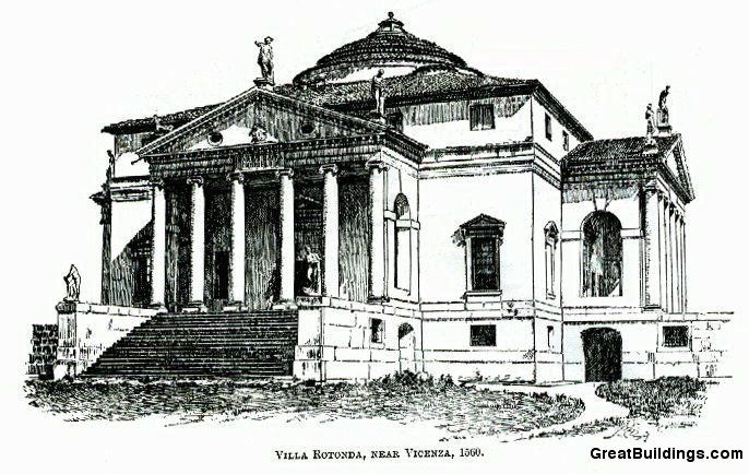 Great Buildings Drawing Villa Capra Or Villa Rotunda La Villa