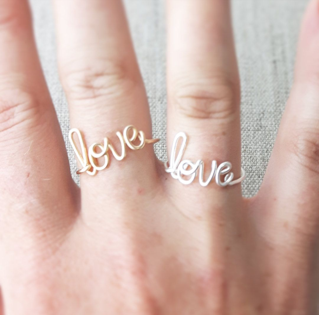Love Ring, Word Ring, Sterling or 14K Gold Filled Any Size, Wire Wrap, Ring Bridesmaid Gift, Bride Gift, Girlfriend Gift,  Word Jewelry by deannewatsonjewelry on Etsy