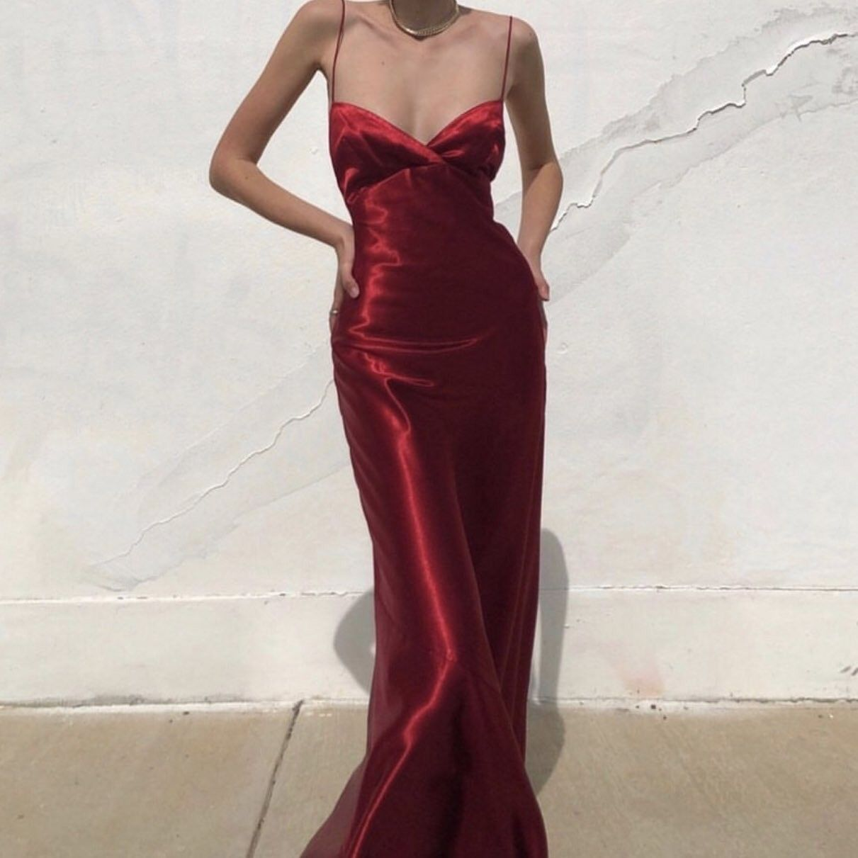 Red satin long dress  Red satin dress, Satin dresses, Satin gown