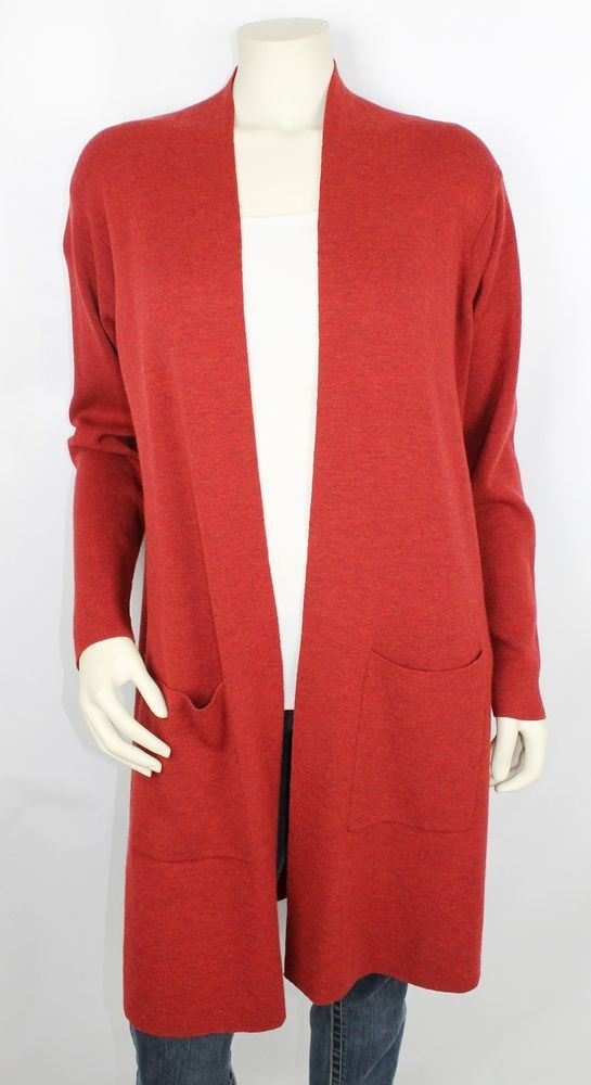 Eileen Fischer Red Open Front Long Sleeve Duster Cardigan Sweater ...
