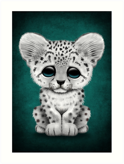 'Cute Baby Snow Leopard Cub on Teal Blue' Art Print by jeff bartels #combs