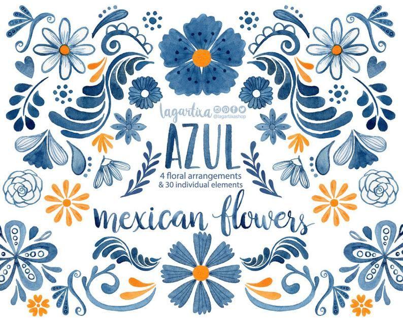 Hand Painted Blue Watercolor Floral Clipart Png Patio Party Flowers Folk Clip Art Hand Painted Cinco De Mayo Cobalt Handmade Crafts Artisanats Mexicains Fleurs D Art Populaire Art Populaire Mexicain