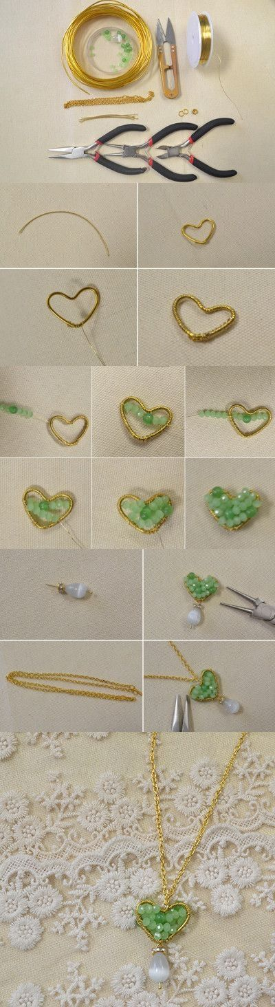 Tutorial on How to Make a Beaded Heart Shaped Pendant Necklace from LC.Pandahall.com #pandahall | Jewelry Making Tutorials & Tips 2 | Pinterest by Jersica