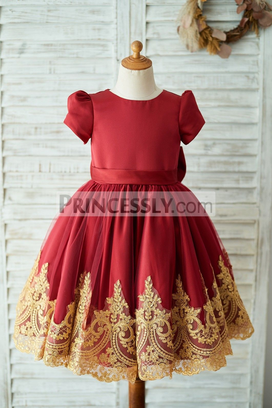 Red satin gold lace short sleeves keyhole back wedding flower girl